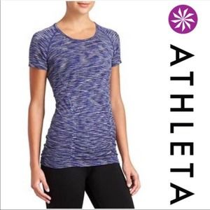 Athleta Fastest Track Tee Spacedye Ruched Blue Med